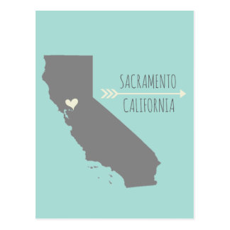 Sacramento, California Heart Postcard