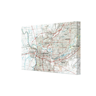 Sacramento California Map (1994) Canvas Print