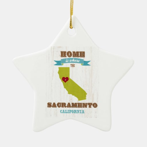 Sacramento, California Map – Home Is Where Double-Sided Star Ceramic Christmas Ornament