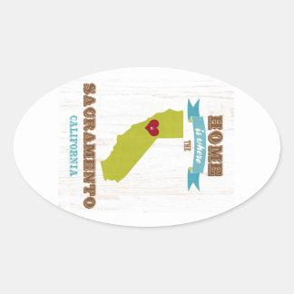 Sacramento, California Map – Home Is Where Oval Sticker