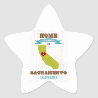 Sacramento, California Map – Home Is Where Star Sticker