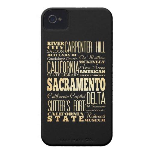 Sacramento City California State Typography Art iPhone 4 Case