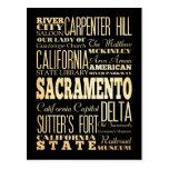 Sacramento City California State Typography Art Postcards