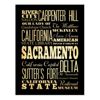 Sacramento City California State Typography Art Postcard