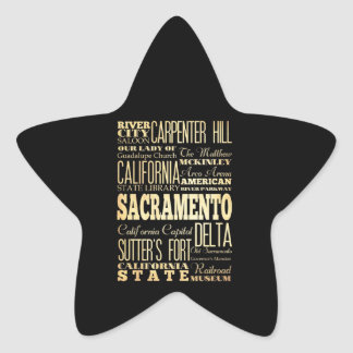 Sacramento City California State Typography Art Star Sticker