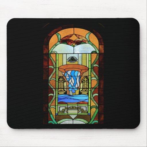Sacramento del arte del vitral del bautismo alfombrilla de ratón