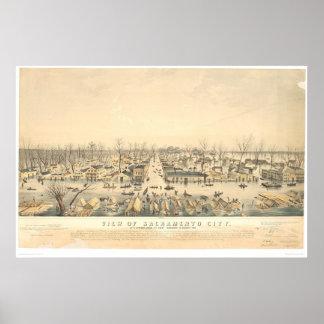 Sacramento durante la inundación de 1850 (1586A) Póster