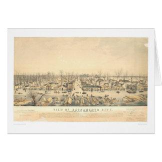 Sacramento durante la inundación de 1850 (1586A) Tarjetón