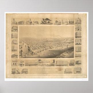 Sacramento, mapa panorámico 1857 (0066A) del CA Póster
