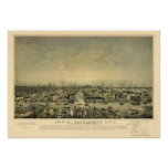 Sacramento, mapa panorámico de CA - 1850 Posters