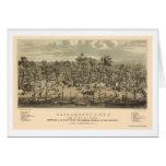 Sacramento, mapa panorámico de CA - 1850 Tarjeta De Felicitación