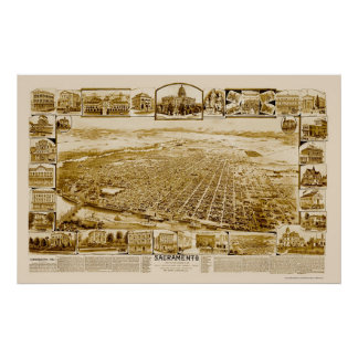 Sacramento, mapa panorámico de CA - 1890's Impresiones