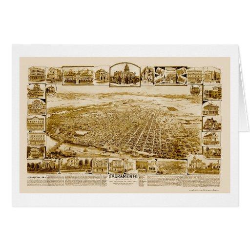 Sacramento, mapa panorámico de CA - 1890's Tarjeta De Felicitación