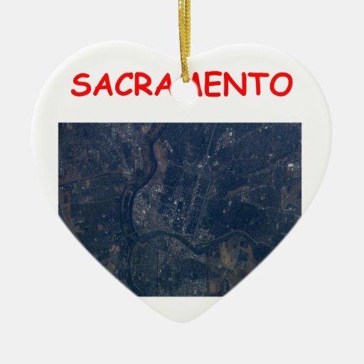 sacramento Double-Sided heart ceramic christmas ornament
