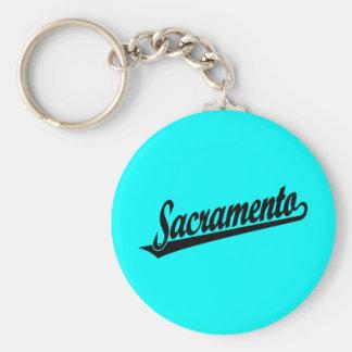 Sacramento script logo in black keychains