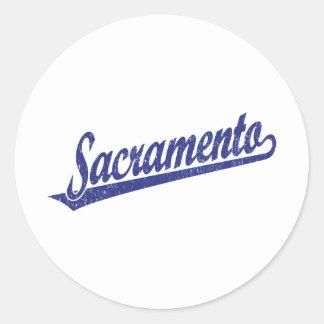 Sacramento script logo in blue distressed classic round sticker