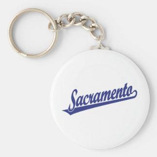 Sacramento script logo in blue keychains