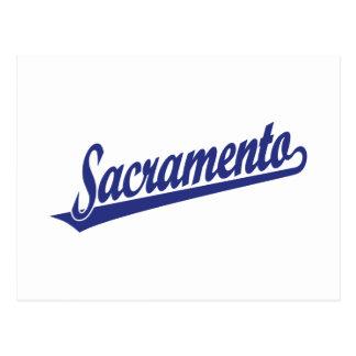Sacramento script logo in blue postcard