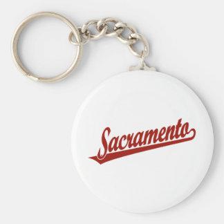 Sacramento script logo in red keychain