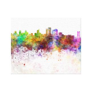 Sacramento skyline in watercolor background lona envuelta para galerías