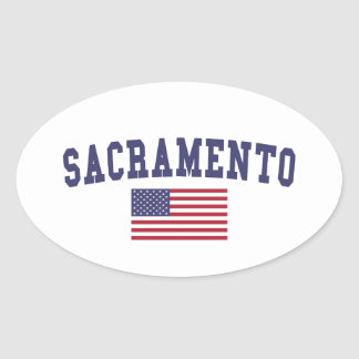 Sacramento US Flag Oval Sticker