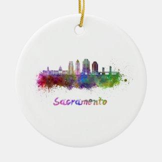 Sacramento V2 skyline in watercolor Ceramic Ornament