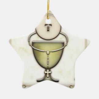 Sacraments Double-Sided Star Ceramic Christmas Ornament