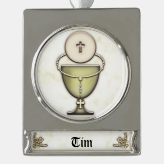 Sacraments Silver Plated Banner Ornament