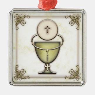 Sacraments Square Metal Christmas Ornament