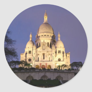Sacre Coeur at night Classic Round Sticker