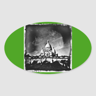 Sacre Coeur BW Oval Sticker