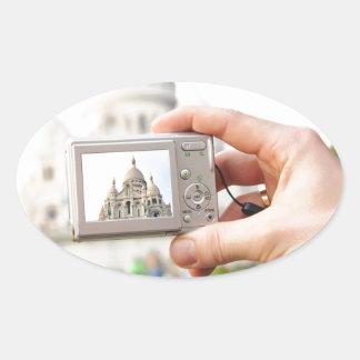 Sacre-Coeur in Paris Oval Sticker