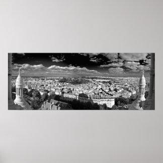 Sacre Coeur - panorama negro y del blanco (iii) Póster
