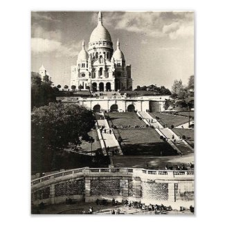Sacré Coeur vintage black and white Photo Print