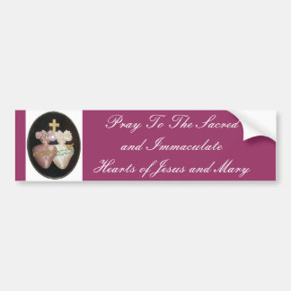 SACRED AND IMMACULATE HEARTS BUMPER STICKER