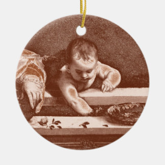 Sacred and Profane Detail in Copper Ceramic Ornament