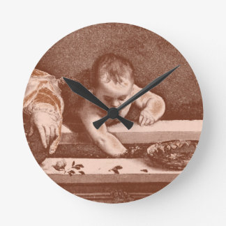 Sacred and Profane Detail in Copper Round Clock
