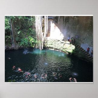 Sacred Blue Cenote, Ik Kil, Mexico #4 Poster