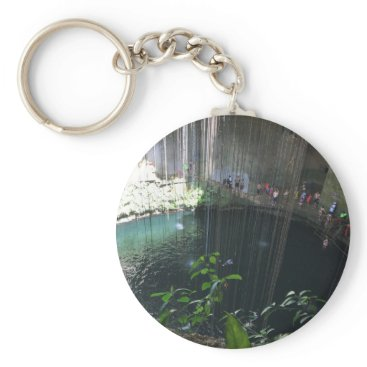 everydaylifesf Sacred Blue Cenote, Ik Kil, Mexico Keychain