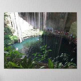 Sacred Blue Cenote, Ik Kil, Mexico Poster