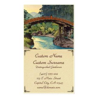 Sacred Bridge in Nikko Hiroshi Yoshida hanga art Business Card