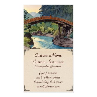 Sacred Bridge in Nikko Hiroshi Yoshida hanga art Business Cards