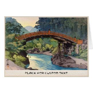 Sacred Bridge in Nikko Hiroshi Yoshida hanga art Card