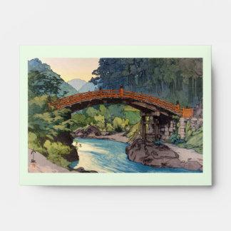 Sacred Bridge in Nikko Hiroshi Yoshida hanga art Envelope