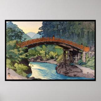 Sacred Bridge in Nikko Hiroshi Yoshida hanga art Poster