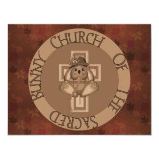 """Sacred Bunny Church 4.25"""" X 5.5"""" Invitation Card"""