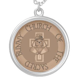 Sacred Bunny Church Round Pendant Necklace