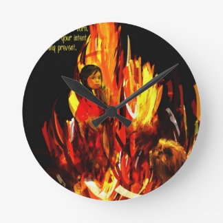 sacred fire.jpg round wallclock