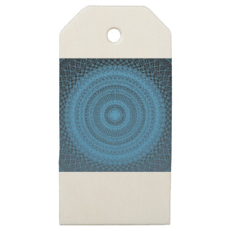 Sacred Geometric Pattern in Blue Wooden Gift Tags