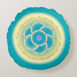 Sacred Geometry Affirmation Teal Yellow Pillow